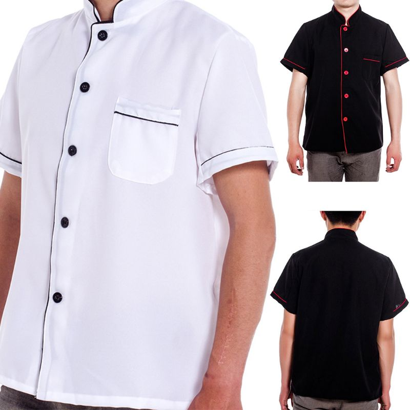 Unisex Short Sleeve Single Breasted Button Down Stripes Chef Jacket Working Coat