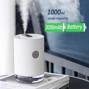 Image 2 - Ev hava nemlendirici 1L 3000mAh taşınabilir kablosuz USB Aroma su buhar makinesi pil ömrü gösterisi aromaterapi Humidificador