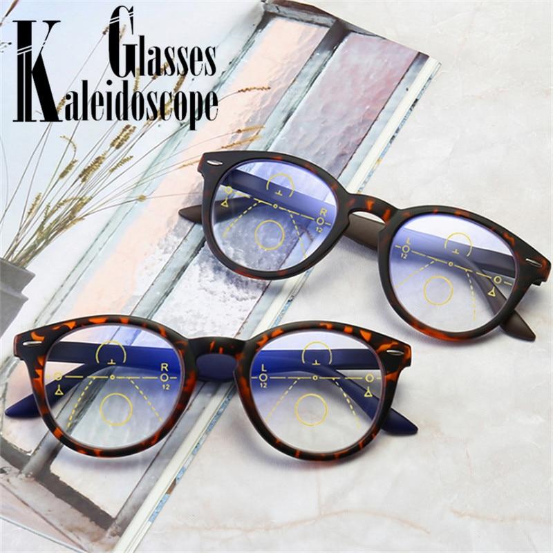 Runde Progressive Multifokale Lesebrille Anti Blau Licht Brillen Frauen Männer In Der Nähe Von Weit Anblick Dioptrien Gläser + 1,0 + 1,5 3,0