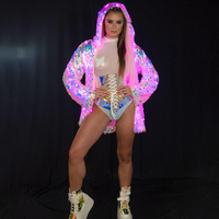 LED Stage Female Sequins Coat LED Luminous Clothes Casaco Feminino Show For Dancer Singer Star Nightclub Coats Hooded
