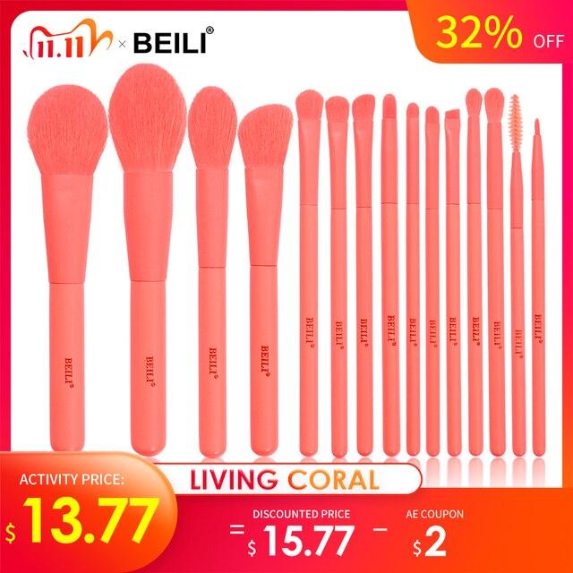 BEILI Premium 15 pcs pincéis de maquiagem sintética conjunto Coral Foundation Powder pó sombra de olho maquiagem pincéisAplicador de sombra