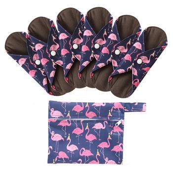 6 + 1 zestaw tkaniny podpaski higieniczne wielokrotnego użytku zmywalny Mama wkładka menstruacyjna bambusowe bawełniane tkaniny higieny intymnej wkładka higieniczna tanie i dobre opinie OHBABYKA S M L bamboo fiber bamboo charcoal 7PCS Feminine Hygiene overnight cloth pads sanitary napkin sanitary pads cloth pads menstrual