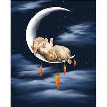 Diy картина по номерам rabbit on the moon комплект маслом Раскраска