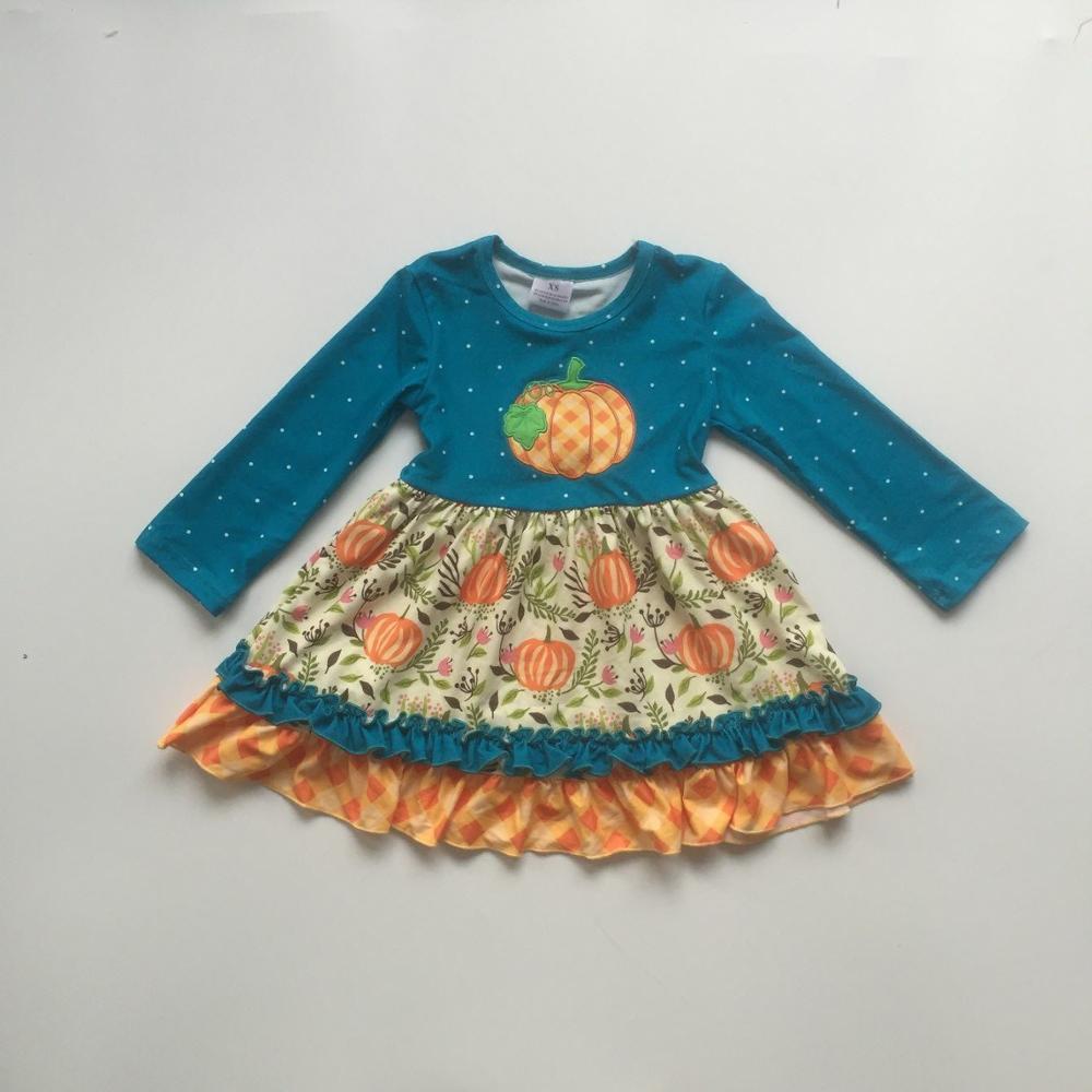 Baby Girls Clothes Girls Fall Dress Baby Kids Halloween Dress Girls Long Sleeve Blue Dress With Pumpkin Print