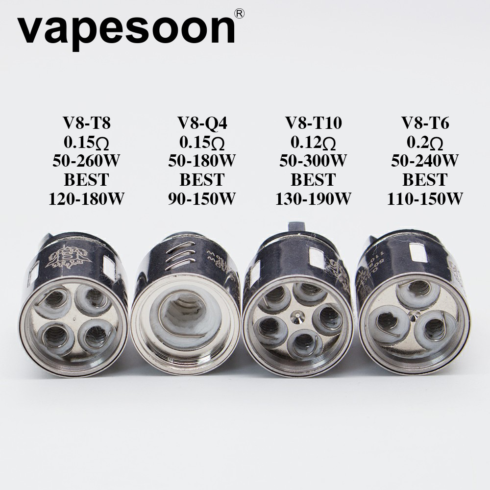 Authentic VapeSoon Coil Head V8 Coil Head V8-T10 V8-T6 V8-Q4 V8-T8  V8 RBA Replacement Coils For TTFV8.. Cloud Beast Tank