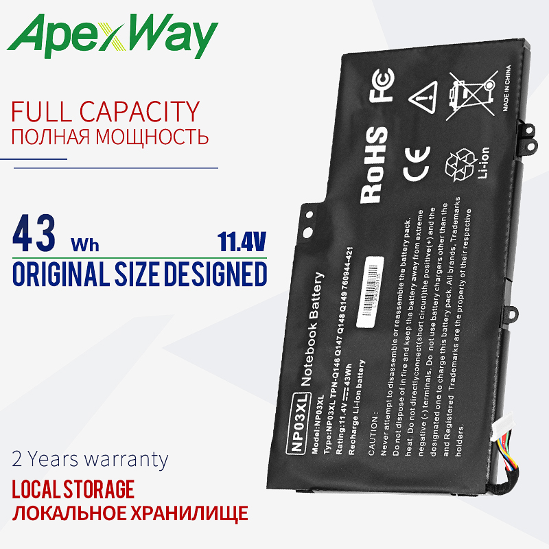 Apexway 11.4v 43Wh Laptop Battery NP03XL for <font><b>HP</b></font> Pavilion X360 <font><b>13</b></font>-A010DX TPN-Q146 -Q147 Q148 Q149 HSTNN-LB6L 760944-421 15-U010DX image