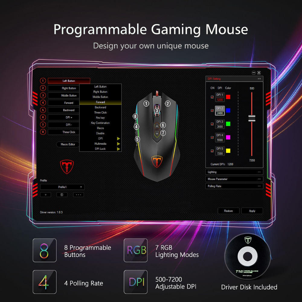 Wired RGB Gaming Mouse 8 Programmable Buttons 7200 DPI Adjustable Ergonomic Mouse With Fire Button