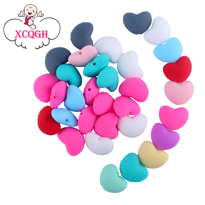XCQGH 10PCS Silicone Beads Baby Teether Love Heart Silicone Loose Beads DIY Necklace Bracelet Pacifier Chain Beads