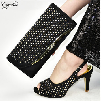 Excellent African Women's High Heel Sandals Shoes With Purse Handbag Set With Rhinestones 398-6 Heel Height 9.5CM