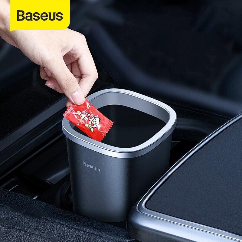 Baseus voiture Trsah Bin 800ml Auto poubelle voiture-style poubelle support de la boîte avec 90 pièces sac à ordures pour accessoires de stockage de voiture