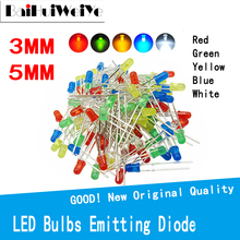100PCS F3 F5 DIP LED Green Red Yellow Blue White Yellow Super bright 5MM 3MM High quality bead light emitting diode
