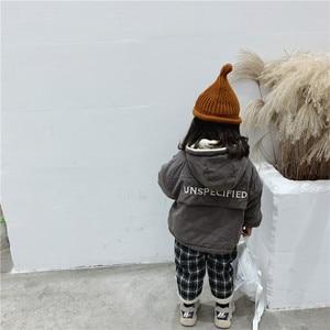 Image 5 - WLG 冬ボーイズガールズパーカー子供付き長袖レタープリントベージュグレーコート赤ちゃん厚い服