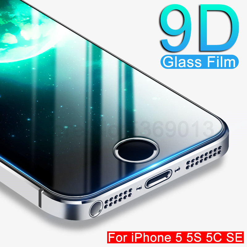 9D Tempered Glass On The For Apple iPhone 5S 5 SE 5C 4 4S Screen Protector 9H Anti-Burst Protective Film Glass For iPhone 5S SE 1