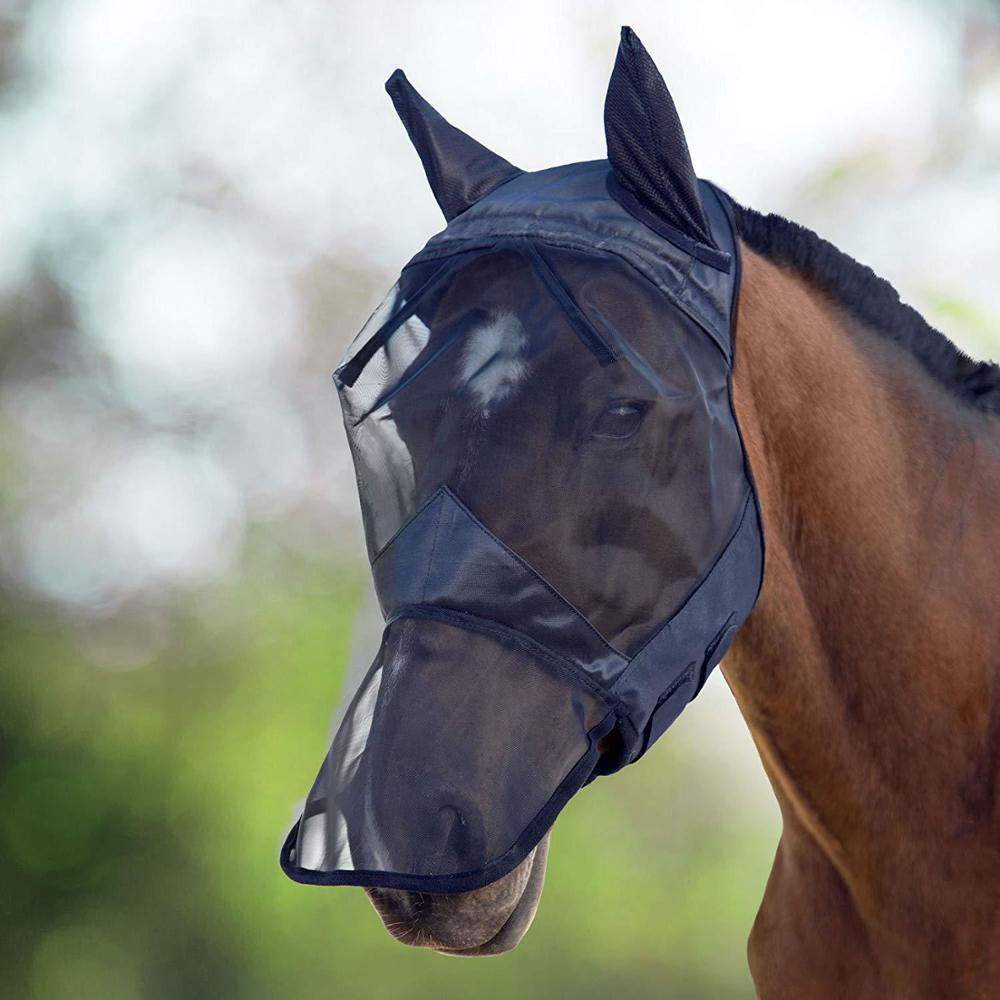Horse Fly Mask Cover Ears, CareMaster Fly Mask,All Around Barn, Stable, Pasture, Trail Riding Sun Protection And Styles