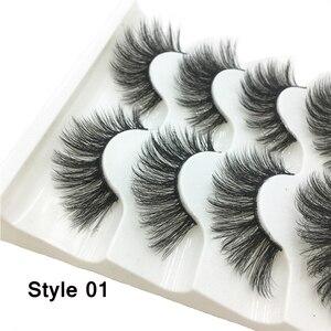 Image 2 - 5 пар 3D Искусственные норковые волосы, мягкие искусственные ресницы, искусственные ресницы, толстые ресницы ручной работы, мягкие натуральные инструменты для макияжа глаз