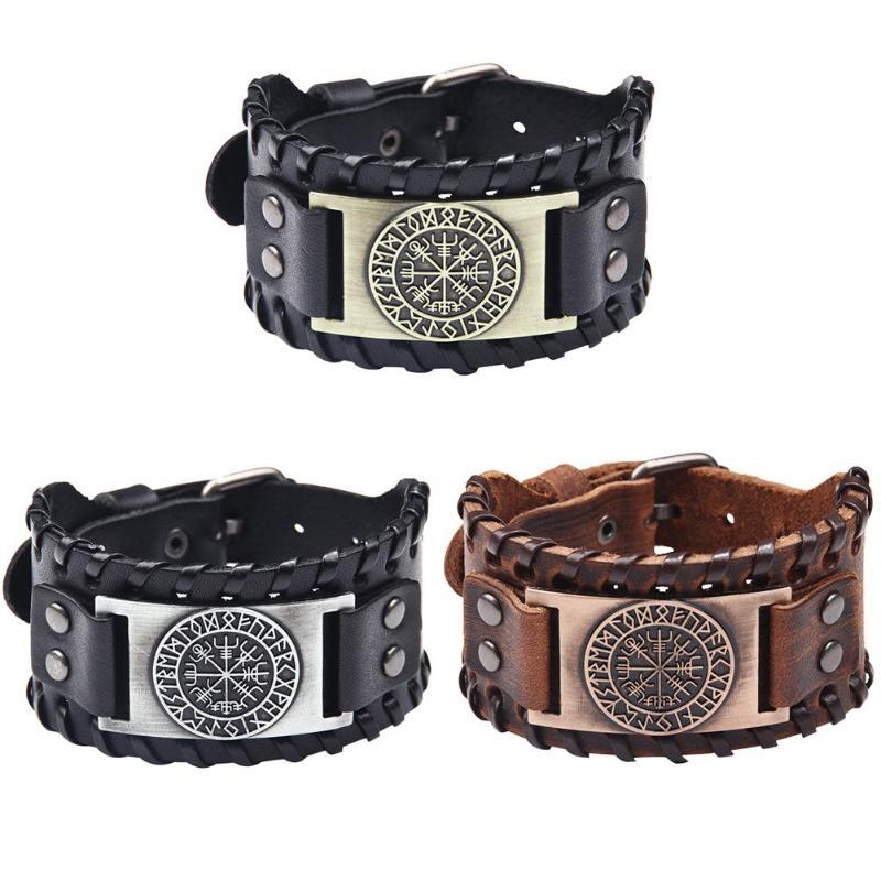 Norse Runes Vegvisir Compass Viking Bracelet Nordic Wristbands Compass Wide Leather Bangle Nordic Men Bracelet Jewelry