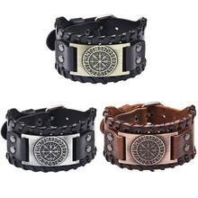 Norse Runes Vegvisir Compass Viking Bracelet Nordic Wristbands Compass Wide Leat