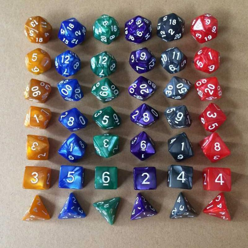 7pcs/Set Polyhedral DnD Mixed Color Dice Playing Cubes Game Board Game Dice Set +Storage Bag A Perfect Gift For TRPG Game Lovers