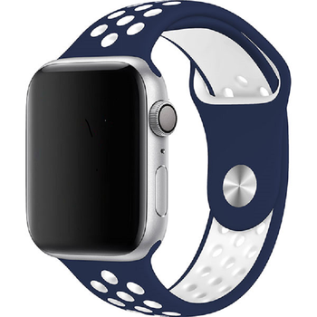 Silicone strap for Apple Watch 38mm/40mm Series 1/2/3/4/5/6 nike sport style, blue and White
