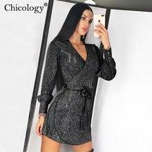 Chicology glitter wrap mini dress V neck sexy lace up women long sleeve 2019 aut
