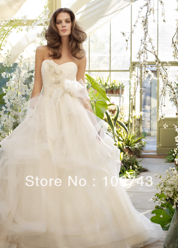 Free Shipping 2016 New Style Hot Sale Sexy Bridal Wear Sweetheart Princess Custom Size  Handmade Ruched Fiowers Wedding-dresses