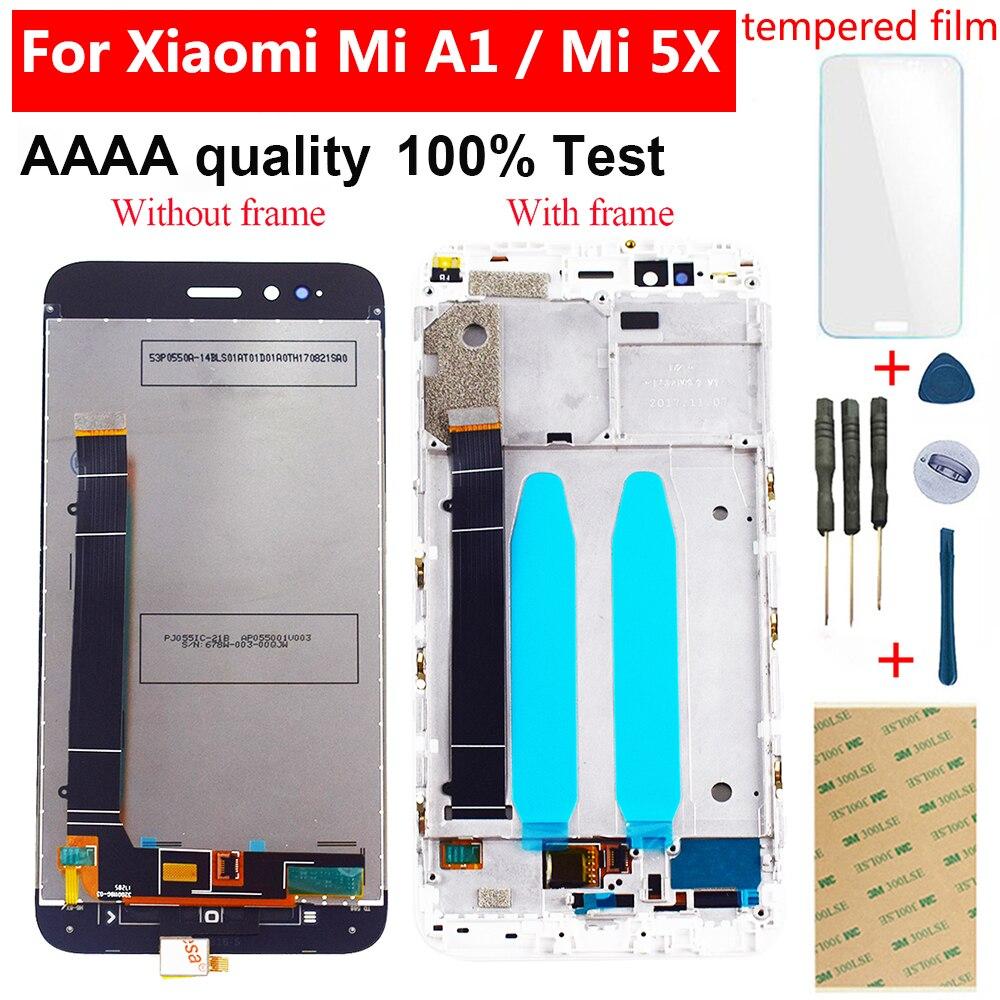 Lcd para xiao mi a1 mi a1 mi 5x mi 5x display lcd de toque digitador da tela sensor vidro quadro montagem