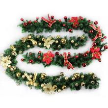 2. 7 м(9 футов) искусственные зеленые венки, Рождественская гирлянда, гирлянда для камина на Рождество, Год, дерево, вечерние украшения для дома
