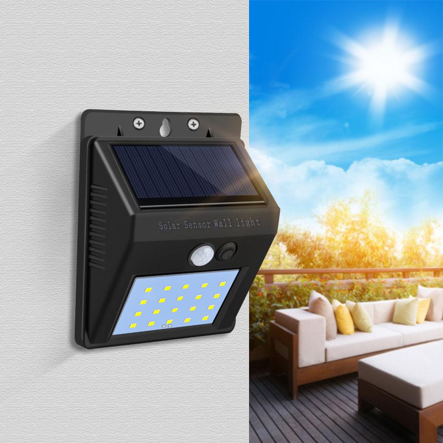 20-80 LED Solar Power Street Light Motion Sensor Lamp Waterproof Panel PIR Garden Decoration Lighting Outdoor Pathway Wall Lamp 1