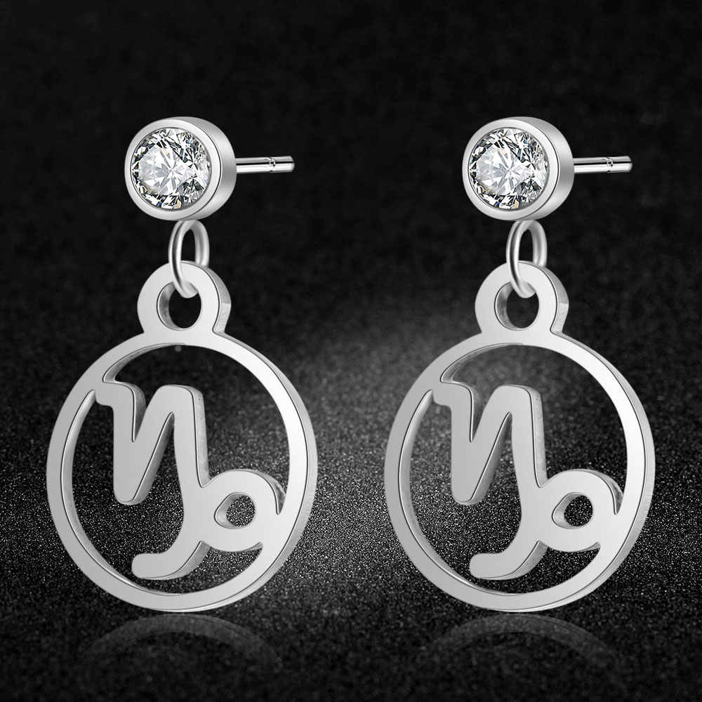 AAAAA Quality 100% Stainless Steel 12 Constellation Zodiac Charm Earring for Women Drop Dangle Wedding Party Earrings Jewelry