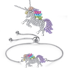 METABLE Unicorn Necklace - 2 Pack Rainbow Bracelet Set for Girls Jewelry Gifts