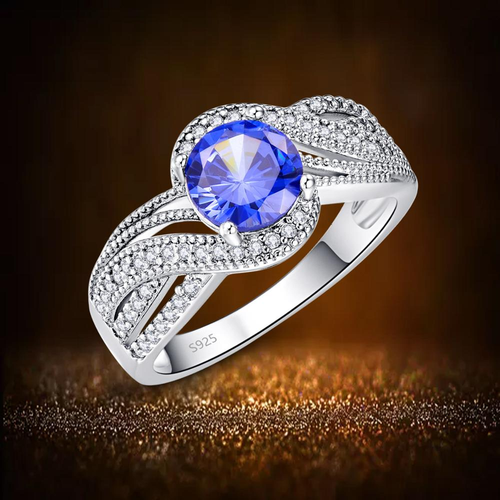 Pear Shape Tanzanite and White Topaz 925 Sterling Silver Women Engagement Ring