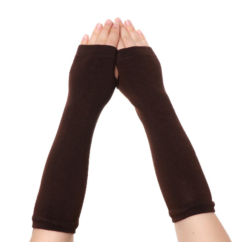 1 çift kadın kızlar pamuk klasik parmaksız uzun eldiven bileklik kol kapağı uzun kollu yumuşak çizgili dirsek Mitten örme eldiven