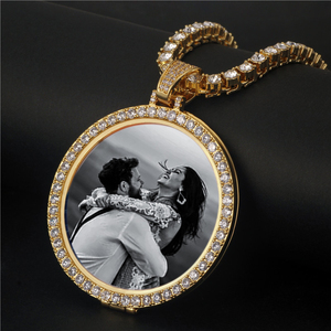 Image 2 - รอบ Photo Custom สร้อยคอและจี้เหรียญทองแดงเทนนิส chain Gold Cubic Zircon Picture สร้อยคอผู้ชายเครื่องประดับ Hip hop ของขวัญ