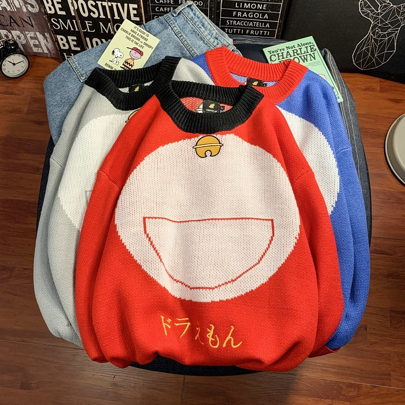 2019 UYUK Winter Fashion Cartoon Embroidered Heavy Turtleneck Dorito-cat Sweater For Men Clothes Hombre Homme