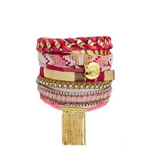 B02-002B Beach Hipanema Bohemian Ethnic Multilayer Vintage New Beads Bracelets Boho Statement Tassel Pearl Charms Wrap Bracelet