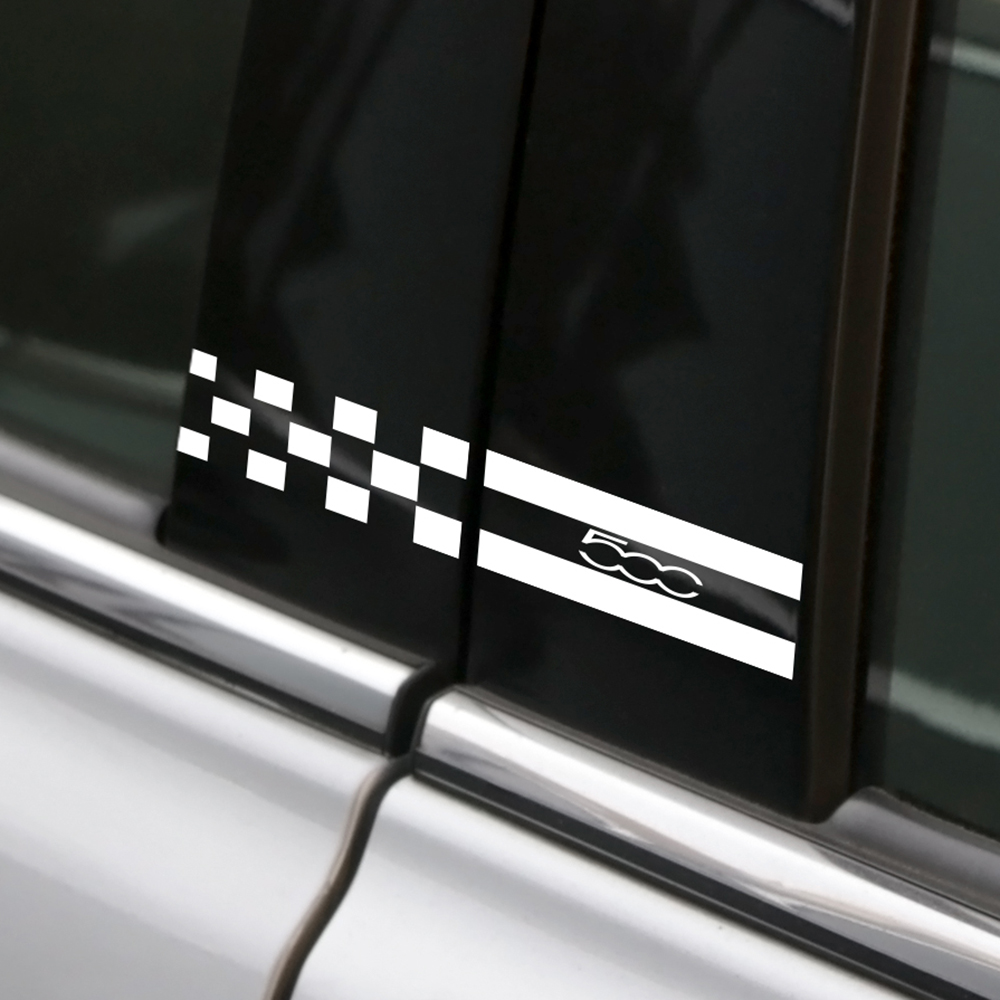 2 шт. декоративные наклейки на автомобильные окна колонна Авто B колонны чехол отражающая наклейка для Fiat 500 автомобильные наклейки и аксесс...