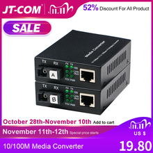 1 Pair Optical Fiber Media Converter 10/100M Singlemode Simplex Fiber Transceiver Single Fiber Converter 1310/1550nm 20km SC