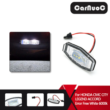 2Pcs 3528 SMD Car LED Number License Plate Light For Acura MDX RL TL TSX 2004 and Up Error Free White 6000k 12V image