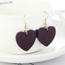 Japanese and Korean Fashion Red Long Paragraph Love Wooden Earrings Pendant Simple Personality