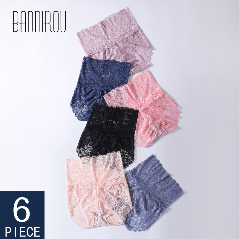 High Waist Underwear For Woman Sexy Female Lace Panties Ladies Bodycon Belly Underwear Hollow Out Floral Panties Woman 6 Pcs New