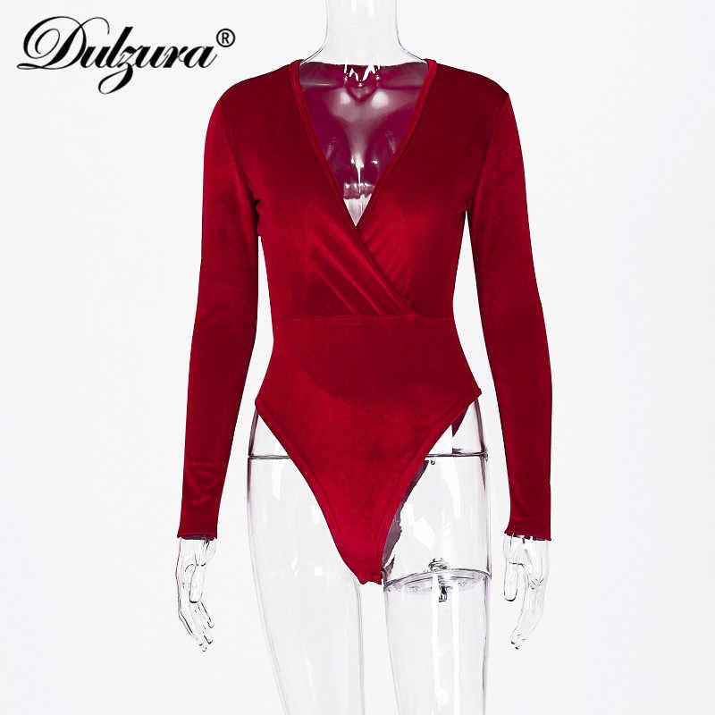 Dulzura 2019 outono inverno mulheres bodysuit veludo elegante decote em v profundo cruz sexy streetwear escritório roupas corpo romper bodycon