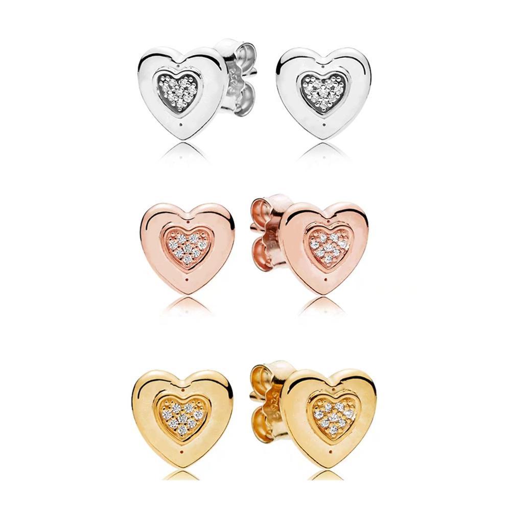 YDX 100% 925 Sterling Silver Love Heart Series Simple Heart Stud Earring Charm Women Valentine Gift Fashion Jewelry