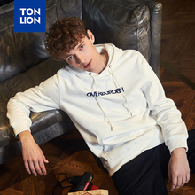 TONLION 2020 Spring White Long Sleeve Hoodies for Males Casual Letter Decoration Sweatshirt Loose Simple Urban Fashion Pullovers