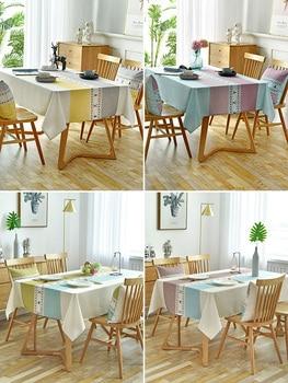Nordic tablecloth fabric cotton linen waterproof oil-proof wash-free rectangular tea table table linen desk