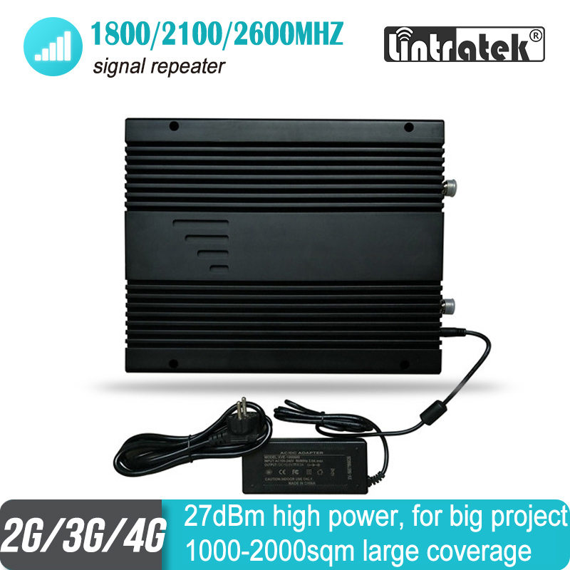 27dBm 2G 3G 4G Mobile Signal Booster FDD2600 1800 2100 MHz Triband Project WCDMA UMTS LTE Repeater 80dB Amplifier For 2000sqm
