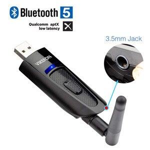 Image 1 - Aptx Low Latency LL 20 м большой диапазон Bluetooth 5,0 аудио передатчик ТВ ПК PS4 без драйвера 3,5 мм AUX разъем RCA USB беспроводной адаптер