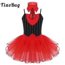 TiaoBug для детей и подростков, для рождественской вечеринки танцевальный сценический костюм в полоску, с принтом в виде красного Сетчатое платье-пачка балетное платье для девочек Купальник для занятий гимнастикой с галстуком-бабочкой, комплект