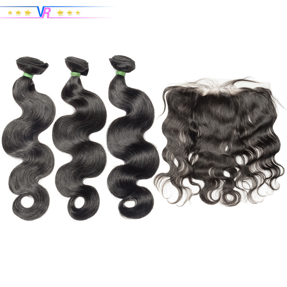 VR Star Quality Body Wave Ear to Ear 13x4 Frontal With 3 Bundles 100% Human Hair Pre Plucked Frontal With Baby Hair