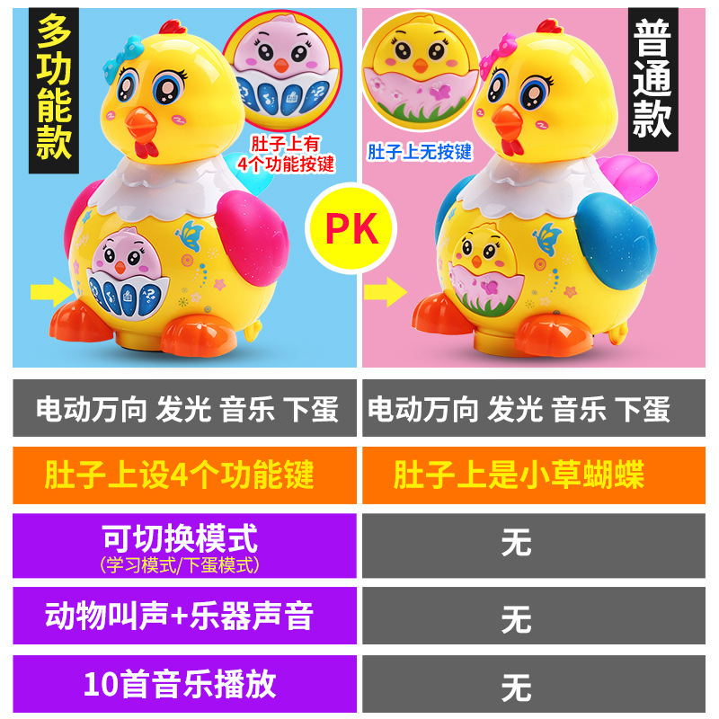 Lay Eggs Hen Electric Universal Wheel Colorful Light And Sound Lewin Children'S Educational Funny Baby Egg Toy