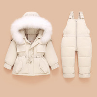 Beige Infant Baby Snowsuit 2pcs Sets Hooded Thick Down Jacket Outerwear+Warm Jumpsuit Toddler Boys Girls Skiing Suit Outdoor